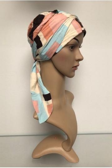 Bambusový turban s vázáním Squares/angels/Pastels