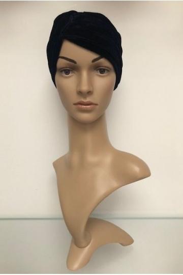 Sametový turban  Velvet Dark Blue