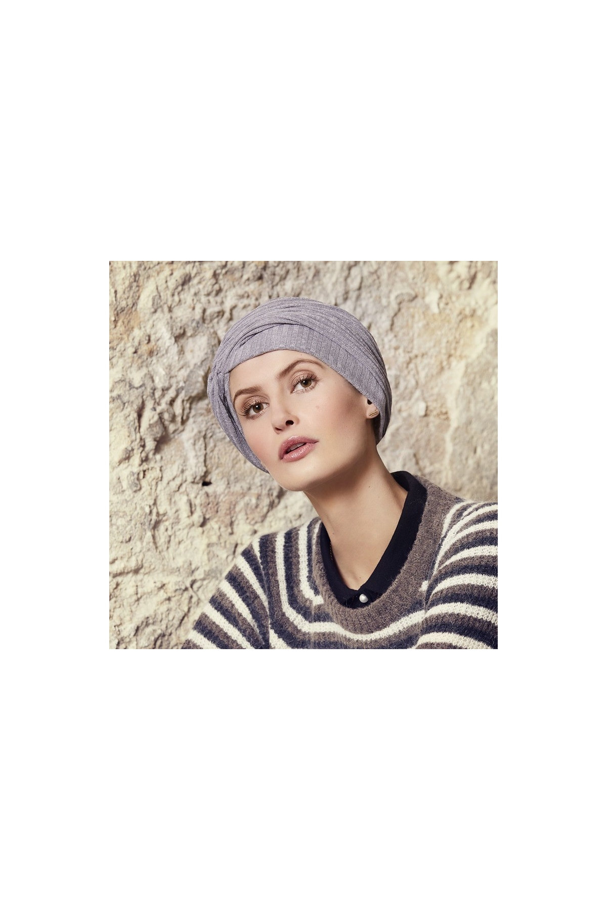 Turban řasený Grey melange