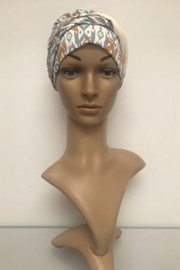 Bambusový turban s našitou čelenkou Ikat Blues