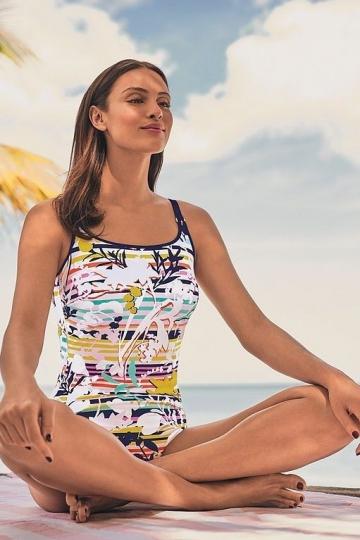 Anita Protetické jednodílné plavky MERRITT M1 pastel proužek/tropicky list