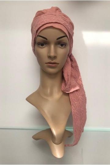 Šátek s dlouhám vázáním růžový